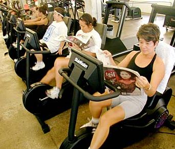 Reading while riding stationary bikes