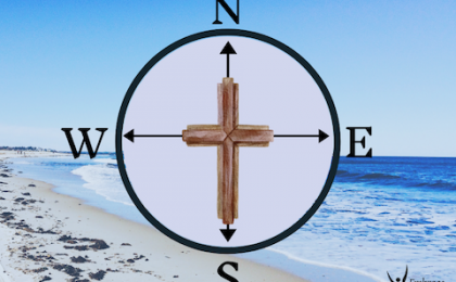 Go ahead and chase after God, cross and compass superimposed on a beach
